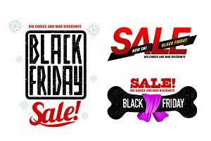 Vector set Black Friday sales tag