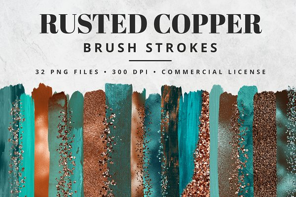 Rusted Copper Brush Stroke Set
