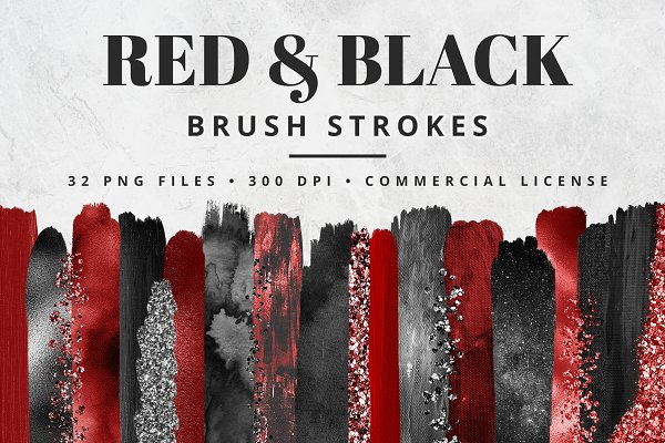 Red & Black Brush Stroke Set