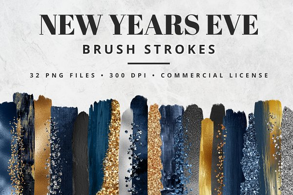 New Years Eve Brush Stroke Set
