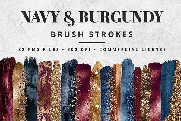 Navy & Burgundy Brush Stroke Set