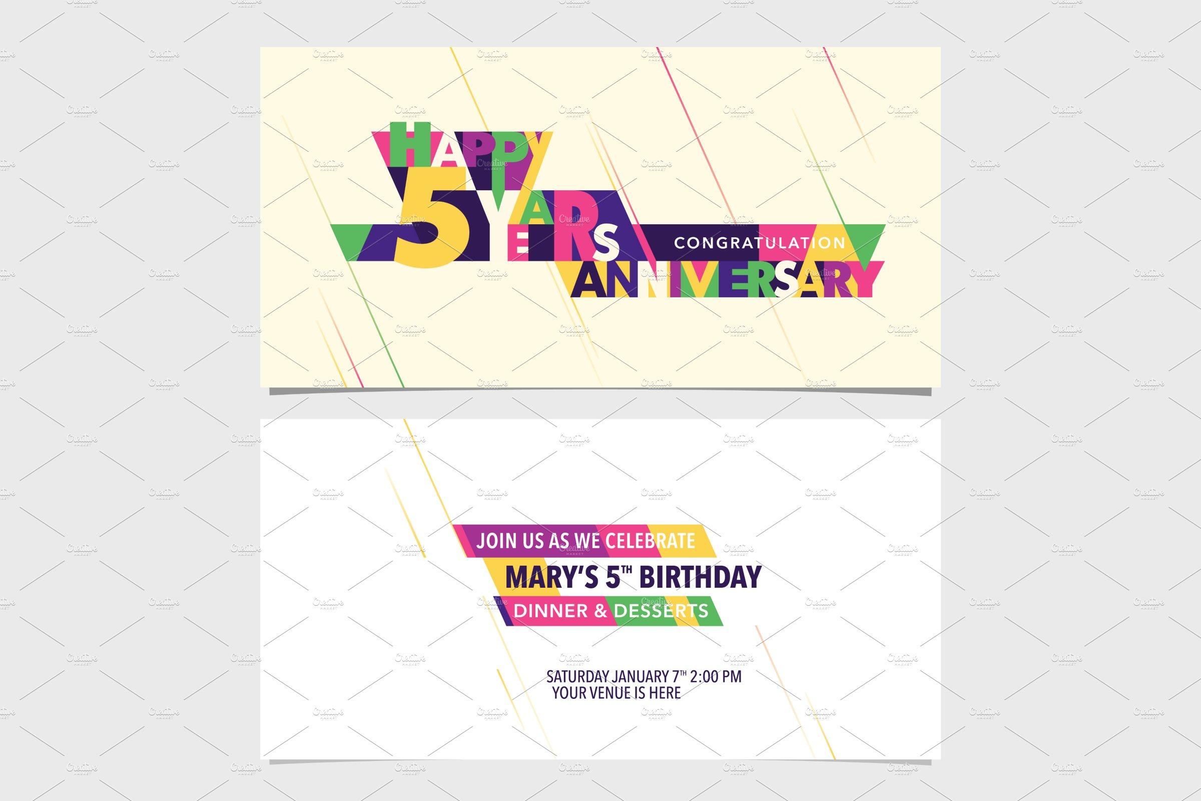 5th Anniversary Invitation Card Vect