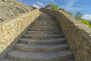 A stone staircase on the hillside