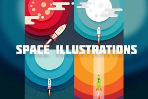 4 Space illustrations in flat style.