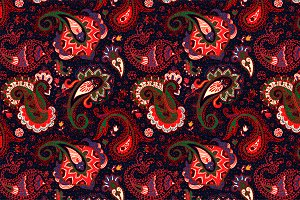 Red Paisley Seamless Pattern