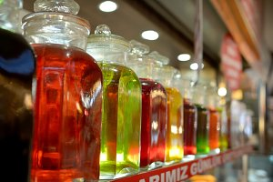 Bottles with colored liquid