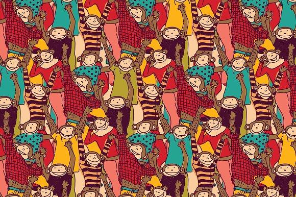 Crowd of monkey seamless pattern