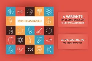 Rosh Hashanah Line Art Icons