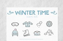 24 vector linear Winter Time icons