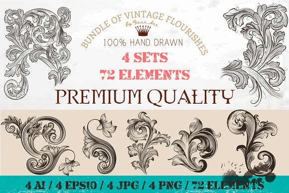 bundle of engraved ornaments graphic objects creative market