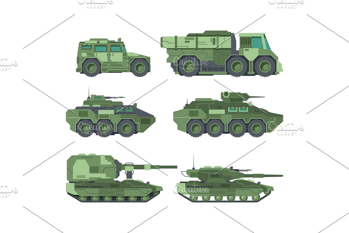 Military cars types flat vector