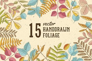 15 Hand Drawn foliages
