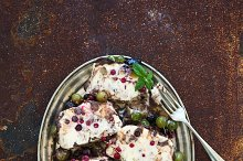 Ice-cream dessert with berries