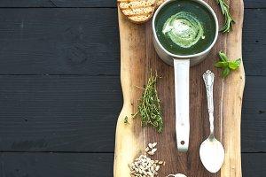 Homemade green spinach cream-soup