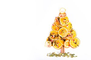 Christmas tree of dried oranges.