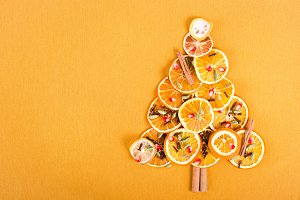 Christmas tree of dried oranges