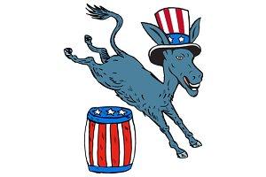 Democrat Donkey Mascot Jumping Over