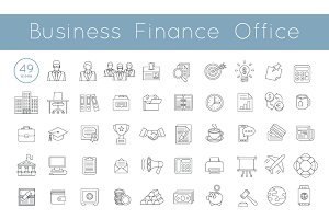 Flat Thin Line Vector Business Icons
