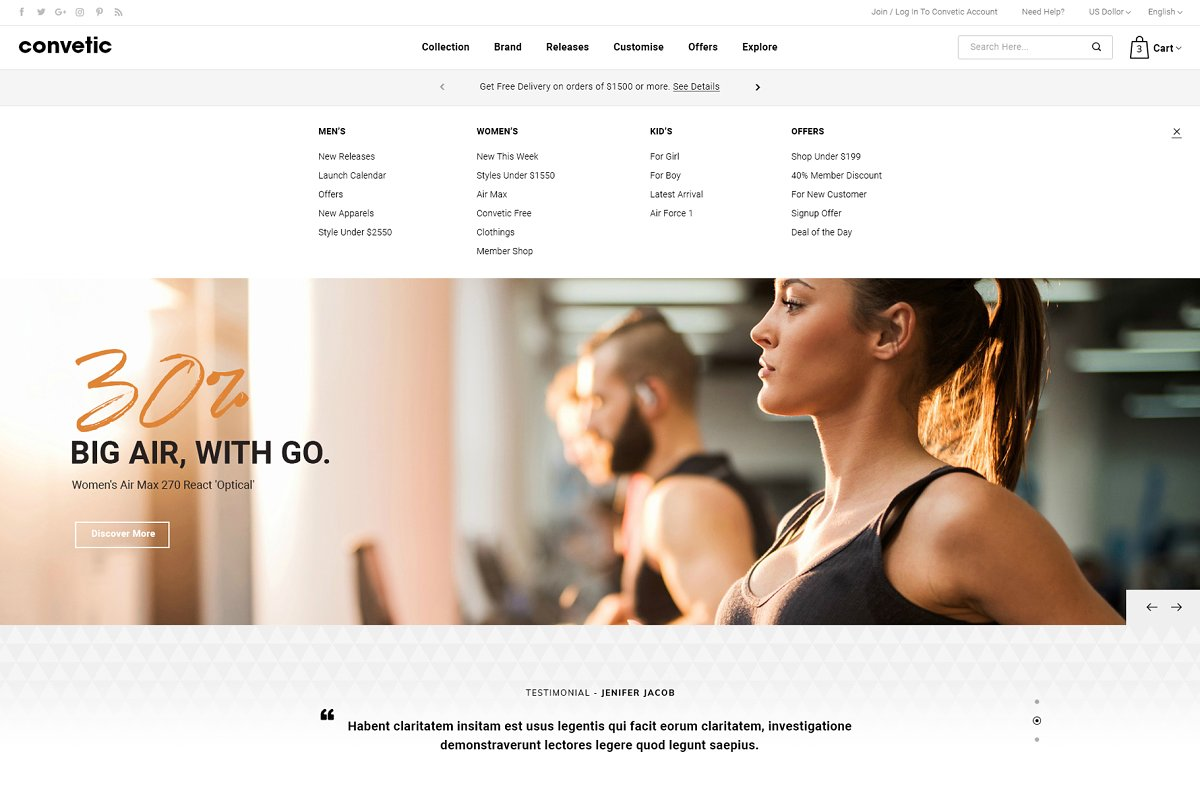 Convetic - Gym OpenCart 3 Theme