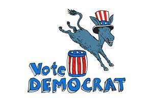 Vote Democrat Donkey Mascot Jumping