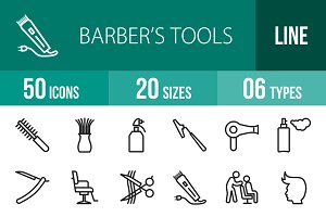 50 Barber's Tools Line Icons
