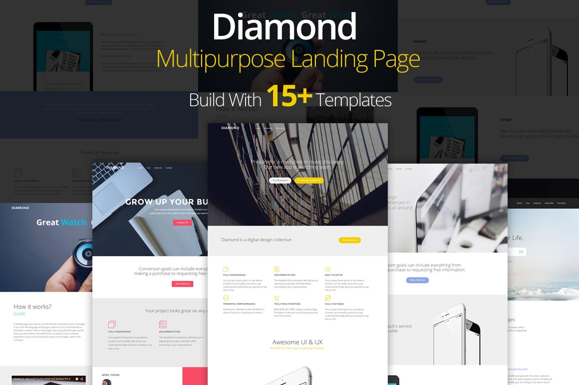 Diamond - Landing Page Template ~ HTML/CSS Themes ~ Creative Market