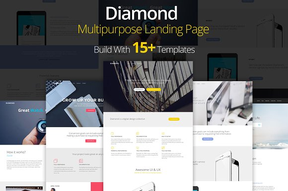 diamond landing page template html css themes creative market