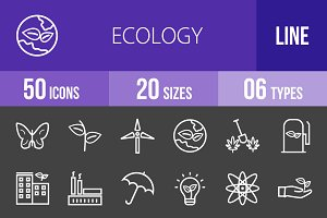 50 Ecology Line Inverted Icons
