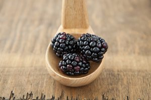 Blackberries in a Wooden Spoon