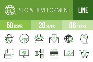 50 SEO&Development Green&Black Icons
