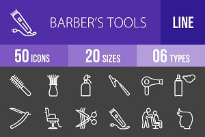 50 Barber's Tools Line Inverted Icon
