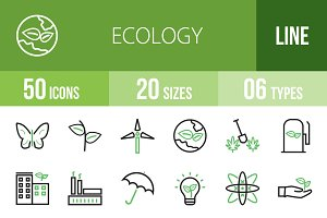 50 Ecology Green & Black Icons