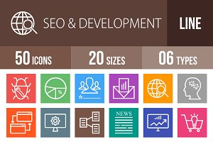 50 SEO & Development Line Multicolor