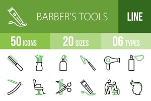 50 Barber's Tools Green&Black Icons