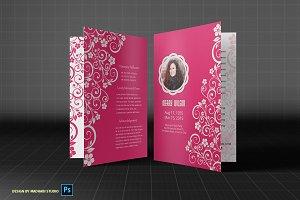 Pink Memory Funeral Program Template