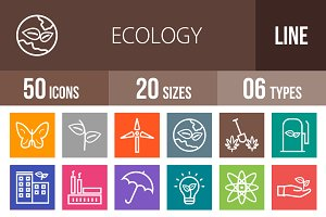 50 Ecology Line Multicolor Icons
