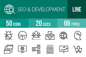 50 SEO & Development Line Icons