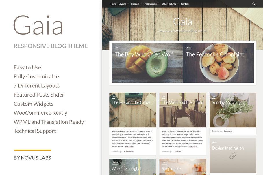 Gaia - WordPress Blog Theme ~ WordPress Blog Themes ~ Creative Market