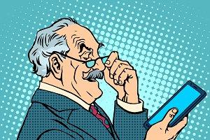 old man gadgets elderly businessman