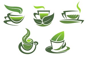 Green tea symbols and emblems