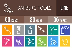 50 Barber's Tools Line Multicolor