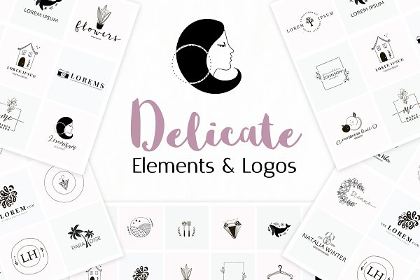 Delicate Logo Pack. Elements + Logos