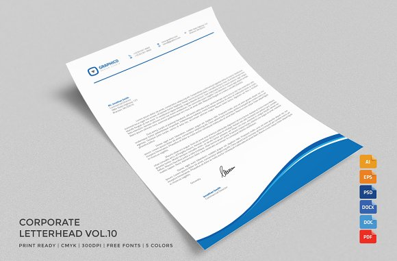 Corporate Letterhead 10 With MS Word Stationery Templates Creative Market