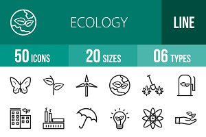 50 Ecology Line Icons