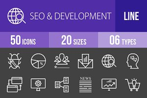 50 SEO & Development Line Inverted