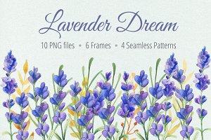 Watercolor Lavender Clip art