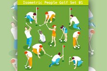 Golf Players Set Isometric