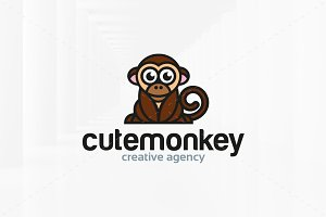Cute Monkey Logo Template