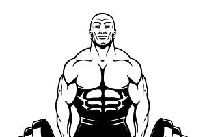 Vector muscle man bodybuilder