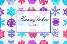 Watercolor snowflakes in vector